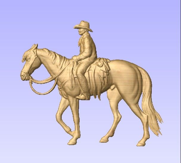 M2990 - Carved Cowboy on Horse, Painted Metallic Brass (Gallery 23)