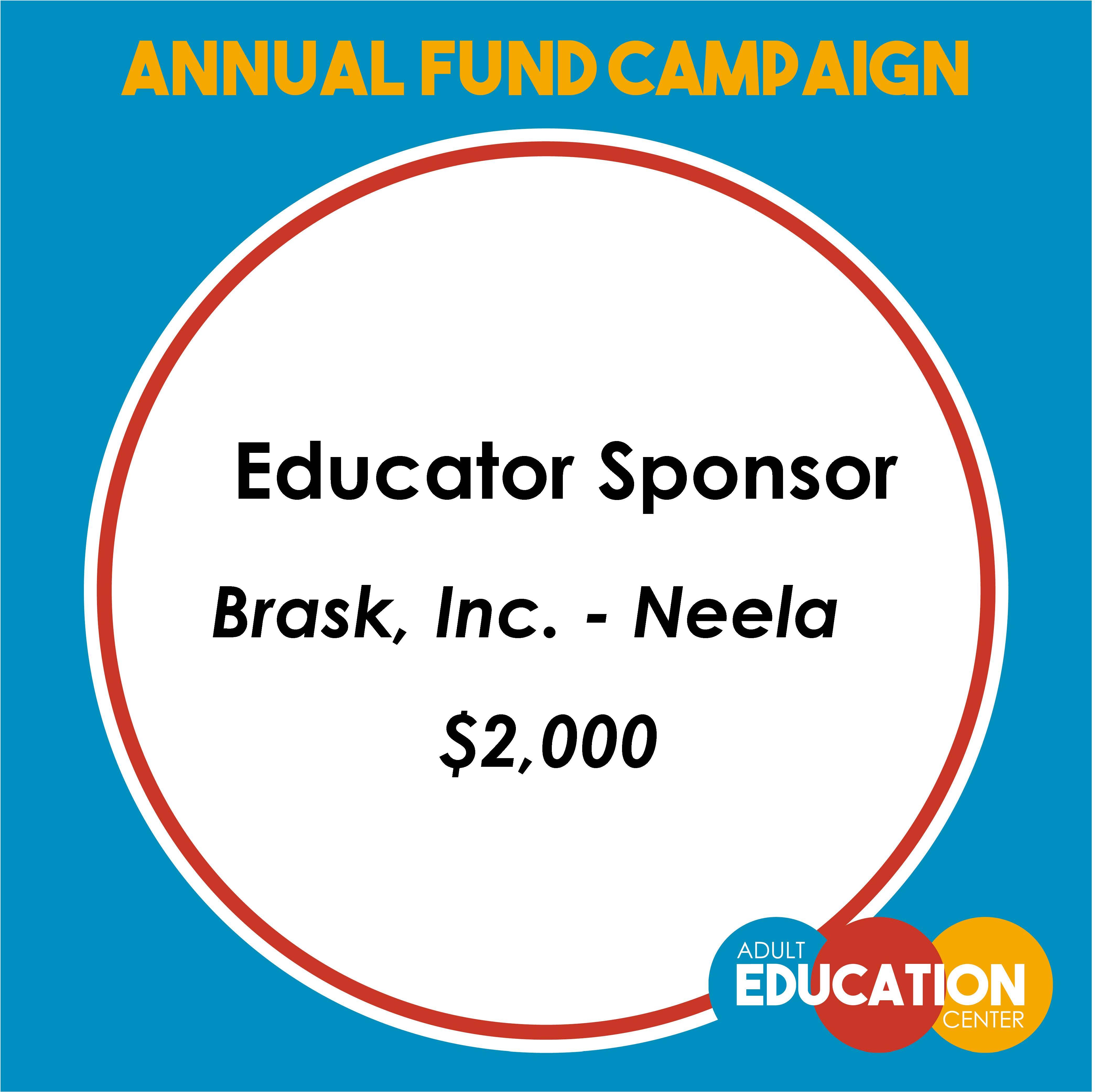 Brask, Inc. - Neela Educator Sponsor - $1,000