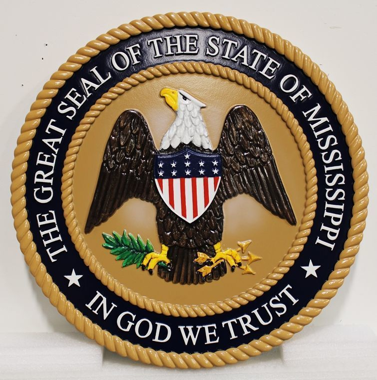 W32286 - Carved 3-D HDU Plaque of the Great Seal of the State of Mississippi