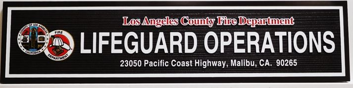 L21722 - Carved and Sandblasted Sign for Los Angeles Beach Lifeguard