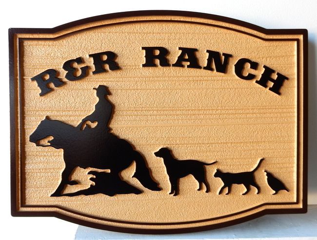 O22312 - Sandblasted, Woodgrain HDU Ranch Sign with Cowboy on Horse, Dog, Cat and Quail