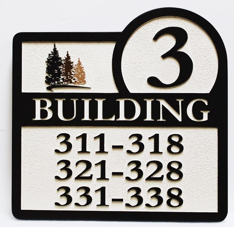 KA20845- Carved Engraved  Directional Sign for Location of Condominium or Apartment Units