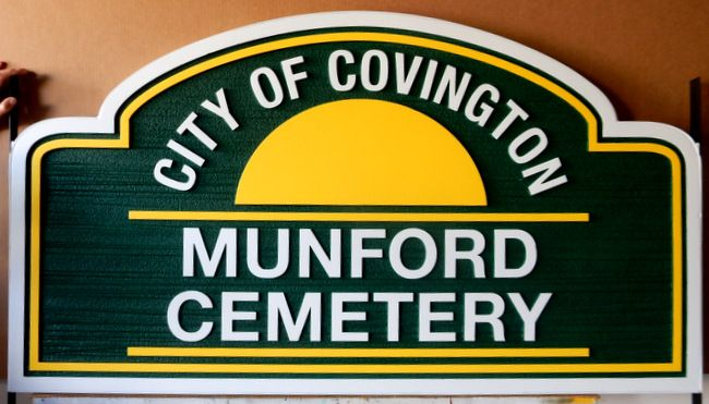 GC16220 - Carved High-Density-Urethane (HDU) entrance Sign for the Munford Cemetery,  City of Covington