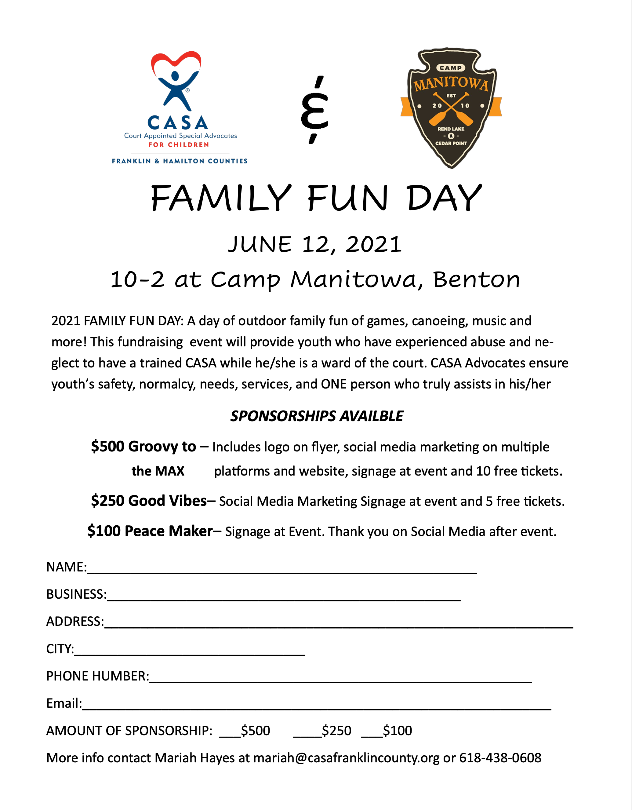 Become a Sponsorship for Family Fun Day