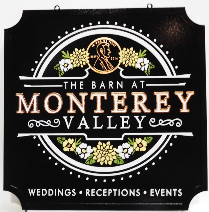 "T29053 - Carved Sign  for the "" Barn at Monterey"" , 2.5-D with Gol Letters and Flowers and a Penny as Artwork"
