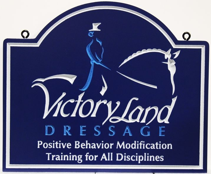P25066 - Engraved Sign for Victory Land Dressage, with an Equestrian Performing Dressage