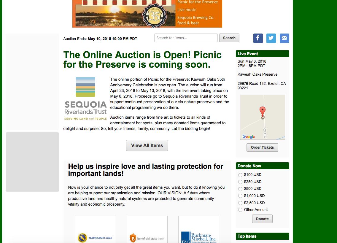 Online auction now underway