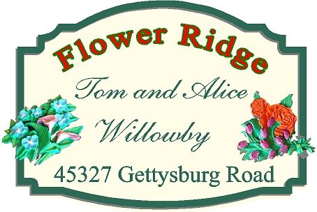 I18238 - Property Name and Address Sign with 3-D Carved Flowers