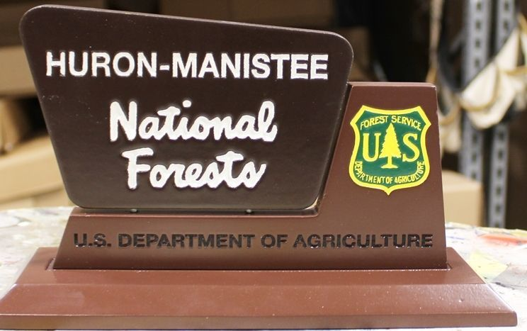AP-5780 - Carved Mahogany Table Top Plaque for Huron-Manistee National Forest