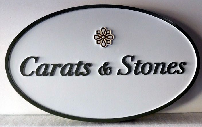 """SA28019 - Carved HDU Sign for a Jewelry Store, """"Carats and Stones""""."""