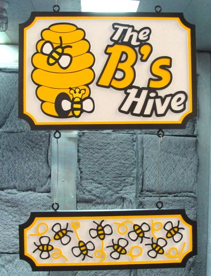 "Q25613 - Carved HDU Sign for Honey Shop ""The B's Hive"" with Carved Bees and Honey"