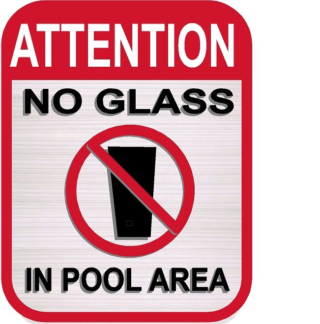 """GB16410- Carved HDU Swimming Pool Sign with Symbol  """"No Glass in Pool Area"""""""