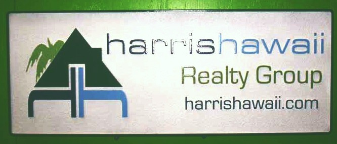 SA28680 - Carved HDU Sign for Hawaiian Realty Company with Palm Tree and House Logo as Artwork