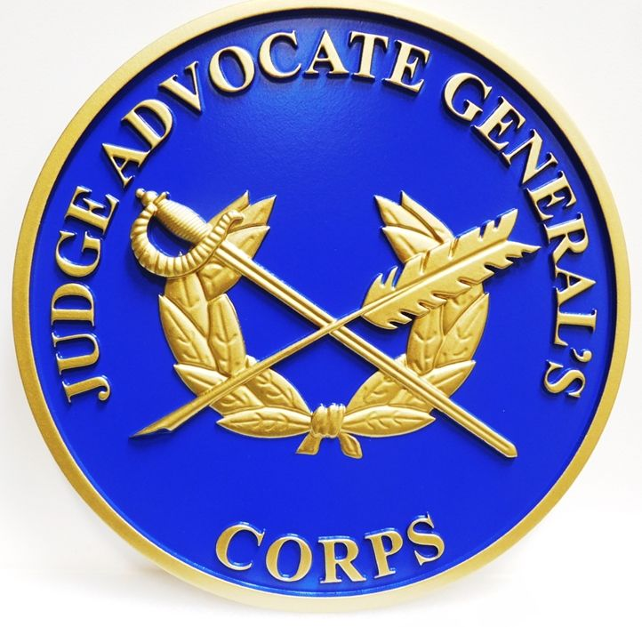 MP-1305 - Carved Plaque of the Seal  of the Judge Advocate General, US Army, 3-D  Artist Painted