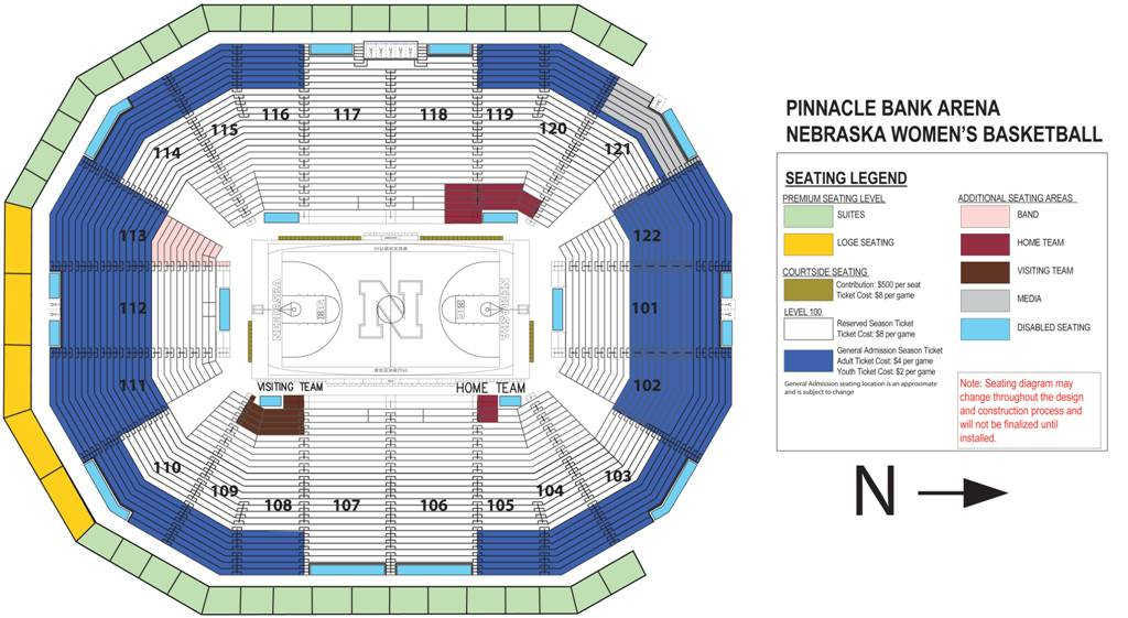 Nebraska Women's Basketball Seating Chart