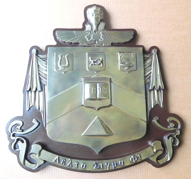 M7276 - Carved Nickel-silver-plated  Fraternity  Coat-of-arms