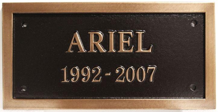 "GC16542 -  Bronze Wall or Gravestone Plaque Memorializing  ""Ariel"""