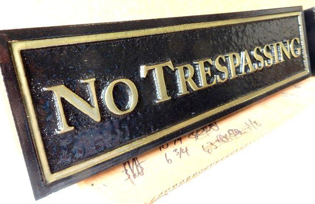 """H17122 - Carved HDU """"No Trespassing"""" Sign"""