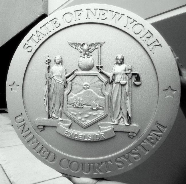 HP-1200 - Carved Plaque of the Seal of the New York Unified Court System, Painted Gray