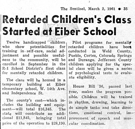 R* Children's Class Started at Eiber School (3/2/61)