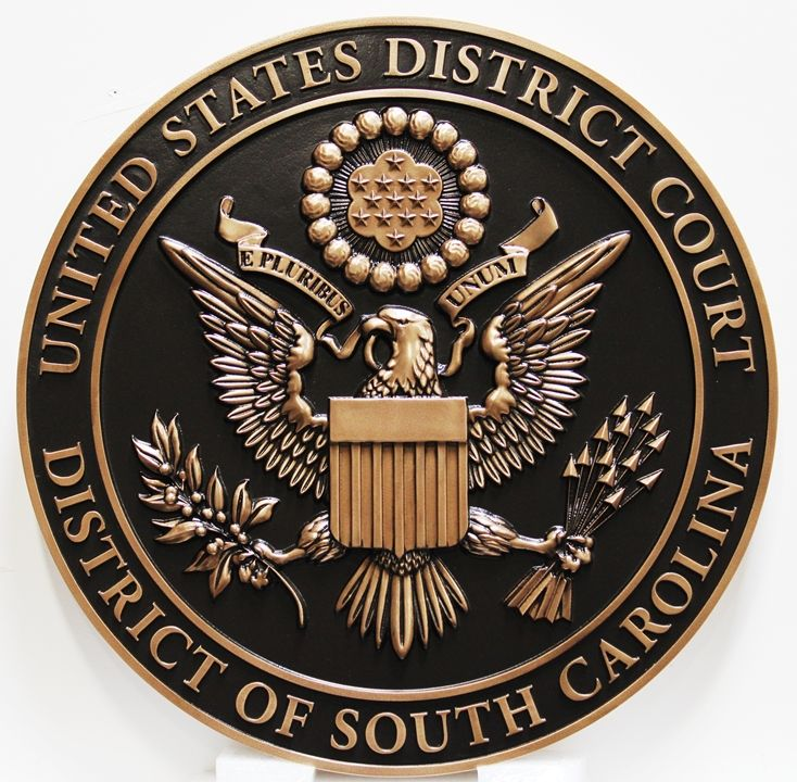 FP-1375 - Carved Plaque of the  Seal ofthe US District Court of theDistrictof South Carolina, 3-D Bronze-Plated