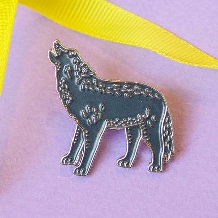 Dark Gray Wolf Pin by Darwin Designs