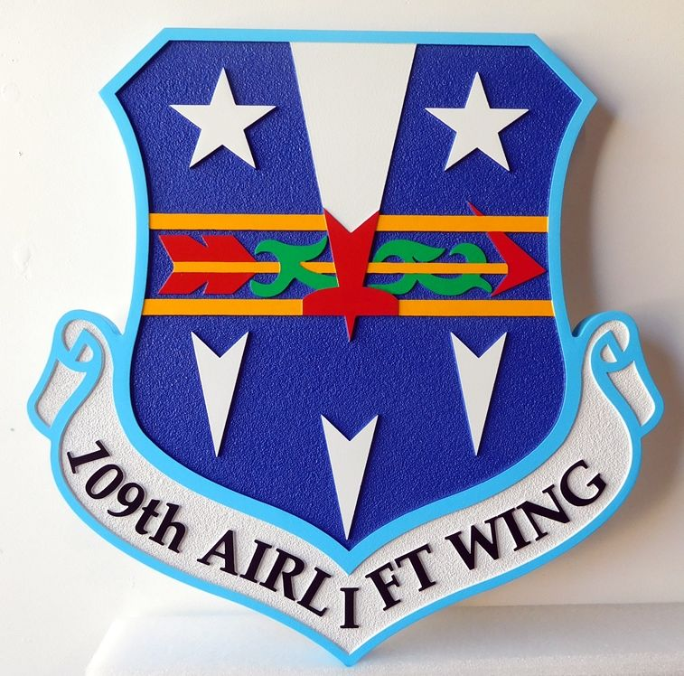 V31617A  -Wall Plaque of the Shield and Crest of the Air Force 109th Airlift Wing