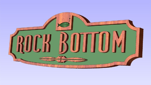 "L21390 -   Carved Cedar Wood Sign ""Rock Bottom""  with Fish and Fishing Hook"