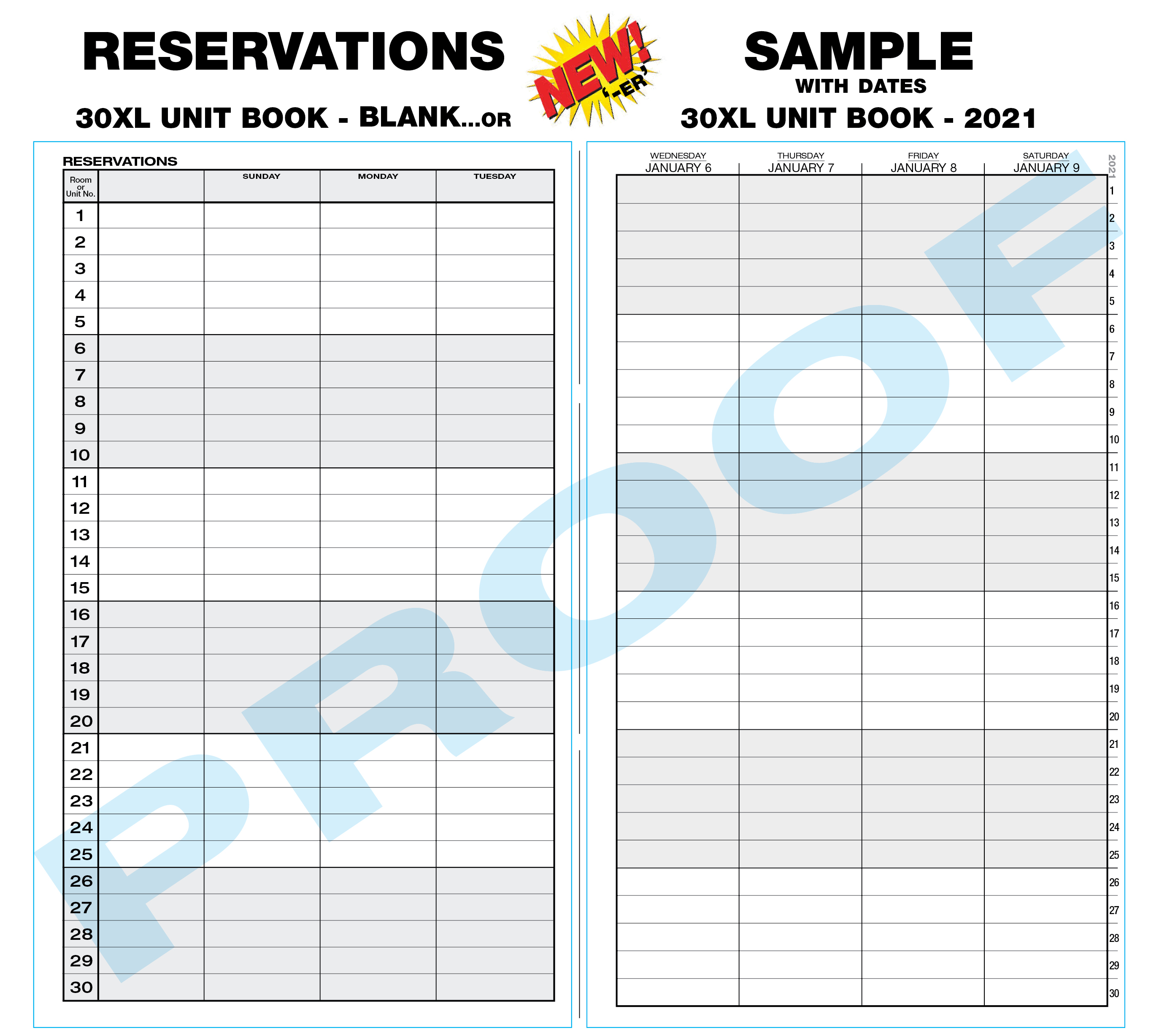 NEW 30XL Reservation Book - blank or predated