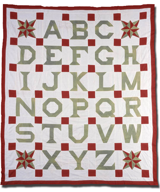 Alphabet, Maker unknown, Possibly made in Cook County, Illinois, United States, Circa 1910, 91.5 x 77.5 in, IQSC 1997.007.0324