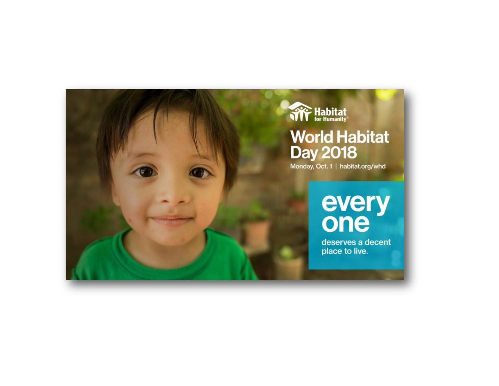 World Habitat Day  October 1, 2018