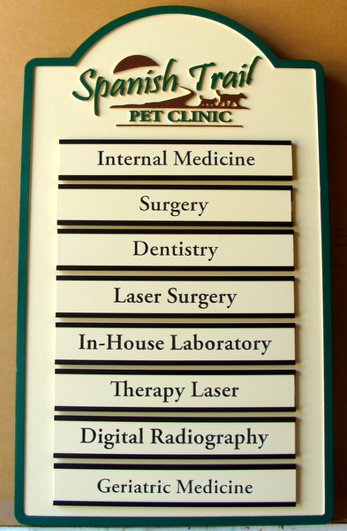 BA11731  -  Carved  HDU Directory  for Spanish Trail Pet Clinic, with Changeable Name Plaques