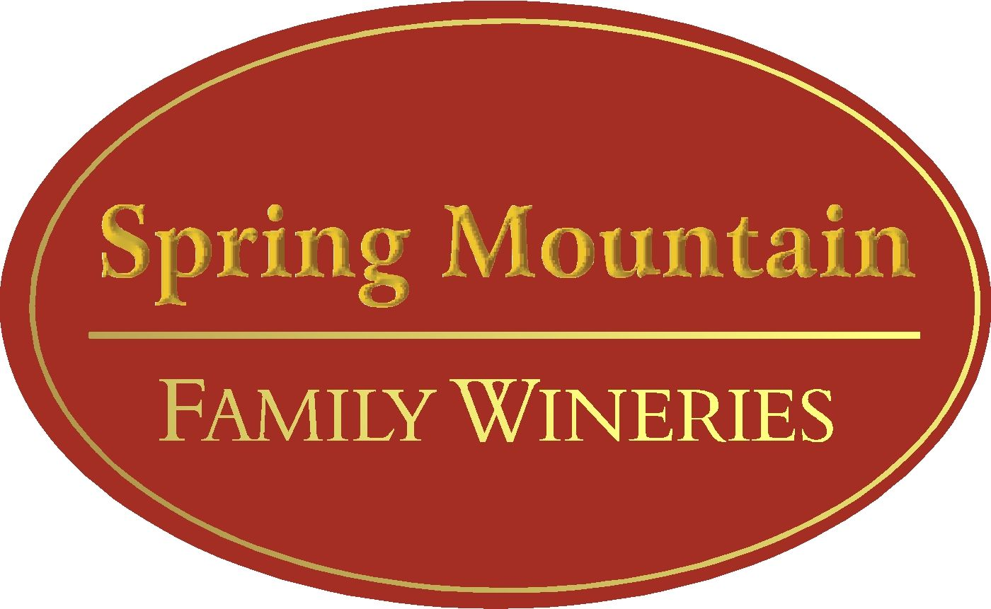 R27066 - Winery Sign at Entrance Driveway, Red & Gold Colors