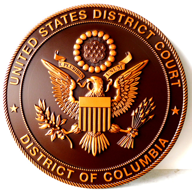 A10852 - 3-D Carved Bronze Wall Plaque for the US District Court, District of Columbia, featuringthe Great Seal of the USA