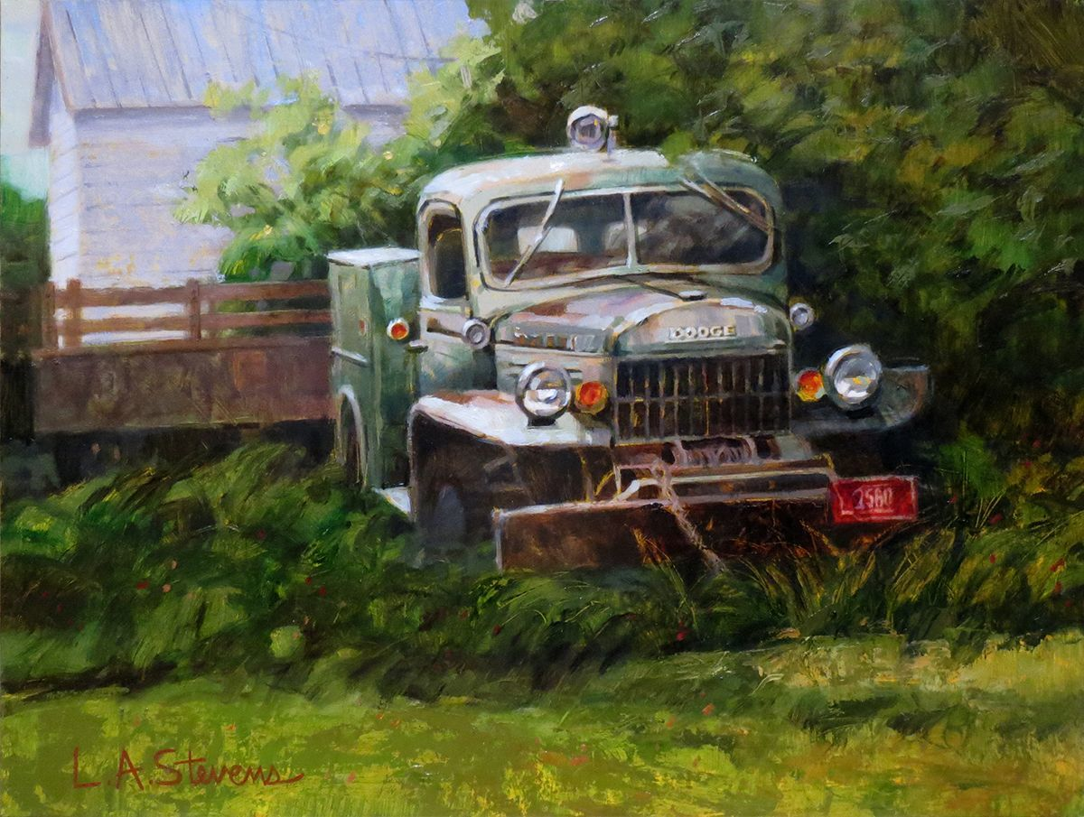 """""""The Old Dodge"""" by Laurie Stevens is available in the Art in the Beartooths online auction"""