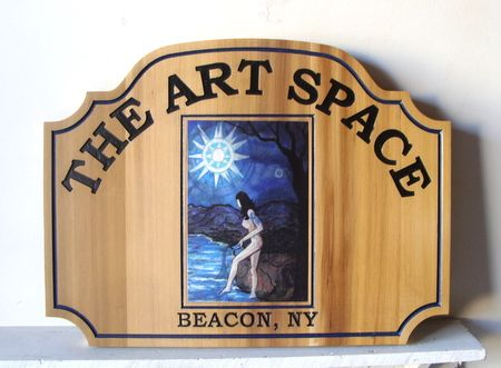 M3033 - Cedar Wood Sign with Digital Printed Vinyl Applique for Art Store (Gallery 28A)