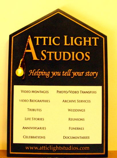 """SA28498 - Carved Sign for """"Attic Light"""" Photo/Video  Studios"""