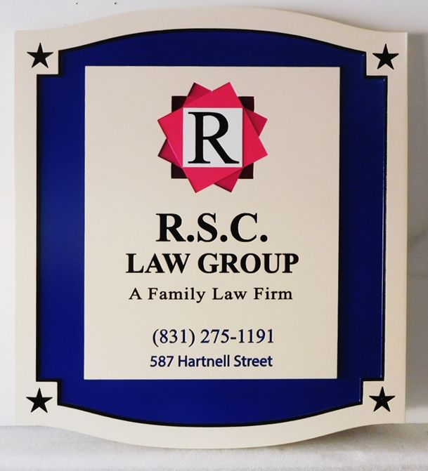 A10045 - Carved, High density Urethane For R.S.C. Law Group, A Family Law Firm with Carved, Raised Logo and Borders