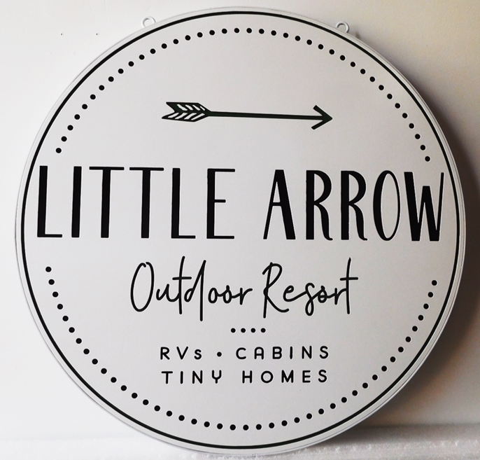 "M22038 - Engraved Outdoor Resort Name Sign ""Little Arrow"""