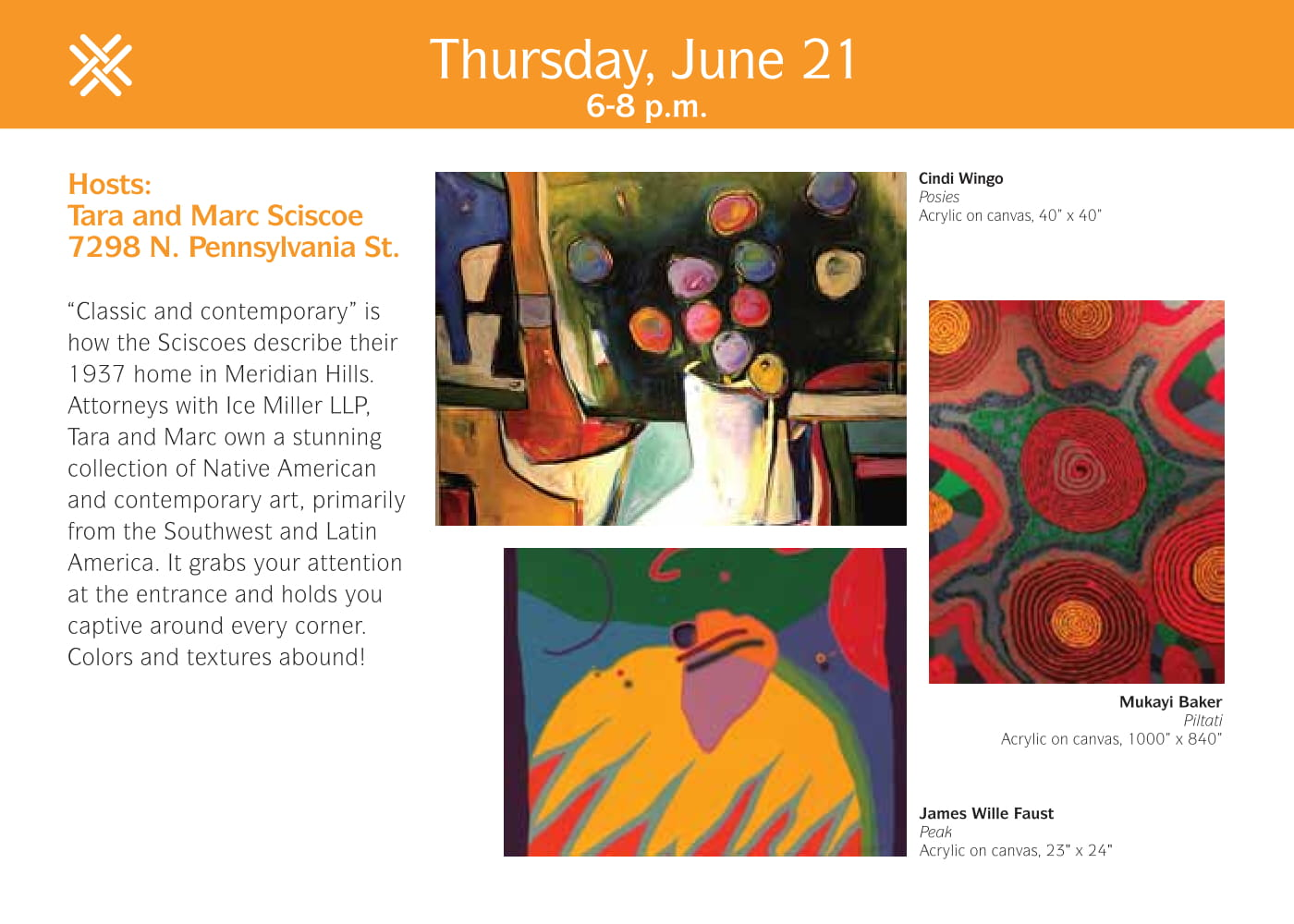 """Thursday, June 21, 6-8 p.m. Hosts: Tara and Marc Sciscoe 7298 N. Pennsylvania Street. """"Classic and contemporary"""" is how the Sciscies describe their 1937 home in Meridian Hills. Attorneys with Ice Miller LLP, Tara and Marc own a stunning collection of Nati"""