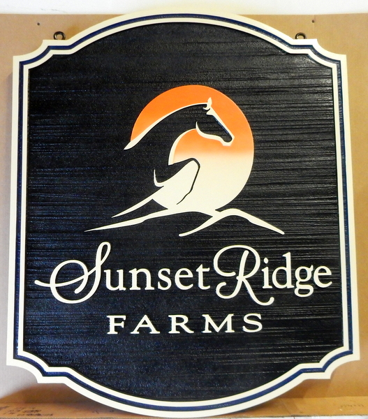 "P25104 - Elegant Carved and Sandblasted HDU Entrance Sign for ""Sunset Ridge Farm"", with Stylized Horse Jumping"