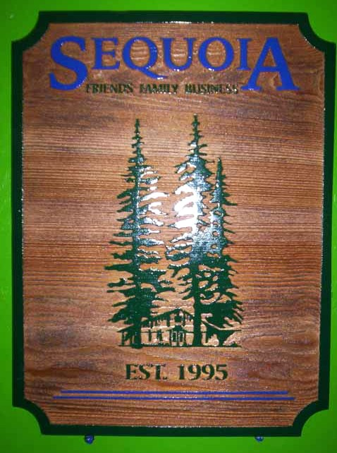 "N23074 - Carved and Sandblasted Redwood Home Plaque with Redwood Tree ""Sequoia"""