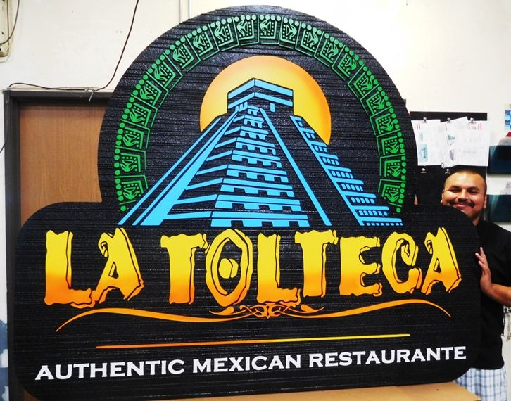 "Q25036 - Carved and Sandblasted Entrance Sign for  ""La Tolteca"" Mexican Restaurant with Multi-Level  Aztec Pyramid as Artwork"