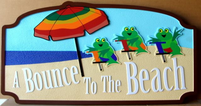 "L21073 - Carved 2,5-D HDU  Beach House Sign ""Bounce to the Beach"", with Three Frogs as Artwork"