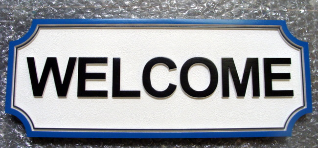 Q25184 - Carved HDU Welcome Sign for Restaurant, Club or Resort