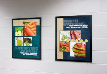 2 food posters in school hallway, food pictures, flip open frames, nutrition education