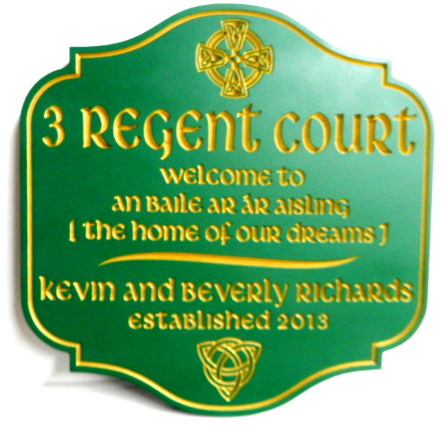 I18402 - Elegant Green & Gold Engraved Irish Welcome & Address Sign, with Irish Symbols (Celtic Cross and Knot)  and Text