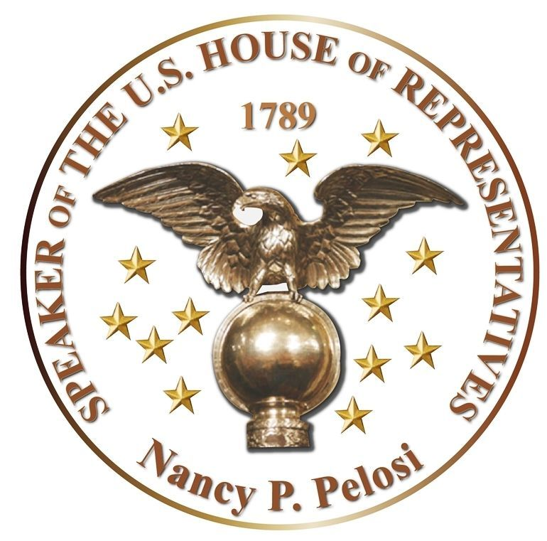 U30102 - Carved 3-D HDU Plaque of the Seal of the Speaker of the House of Representatives, Nancy Pelosi