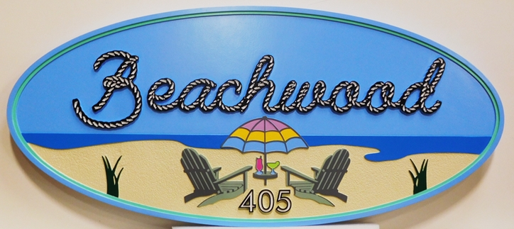 """L21005 - Carved and Sandblasted  HDU Beach House Name and Address Number Sign """"Beachwood"""""""