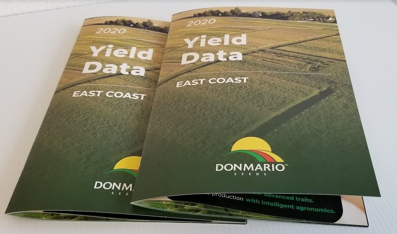 Minuteman Press Champaign just completed printing of the new Donmario East Coast 2020 Yield Data soybean products brochure.